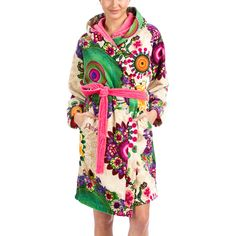 Add a splash of colour to your bathroom with this Happy Blossom bathrobe from Desigual. Wonderfully soft to the touch, it is made from 100% cotton velour and features a unique floral and circular d...
