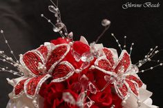 Red Beaded Flower Bouquet by Glorious Beads~  http://stores.ebay.com/Glorious-Beads-Wedding-Flowers