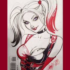 "Yesterday I posted a ♥️""Classic Harley""♠️ sketch, so how about a little ♦️""Modern Quinn""♣️ today! *Drawn on a sketch cover about a year ago. #harleyquinn #batman #arkhamasylum #dccomics #jscottcampbell #sketchcover #sketch #drawing #art #comicbooks"