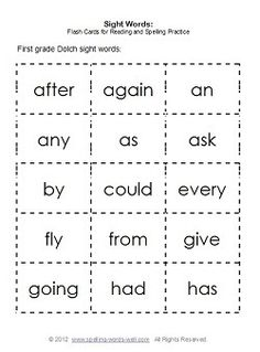 We have lots of sight words lists here, along with printable sight word flashcards, learning games & activities.
