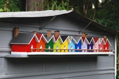 bird houses on a shelf - would be easy to make the illusion of this with chunks of 4x6