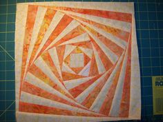 """Twisted Log Cabin"" block tutorial (from Quilting Board/fryguymoore)"