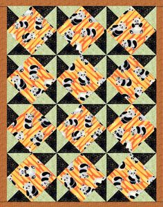 Panda Comic Bear Bamboo Pre-Cut Quilt Blocks Kit