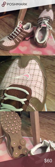 Nike Shox - Rare Find Worn twice like new. Nike Shox brown leather, white laces, pink, white and grey checkered print. Size 8 $60 Rare Find Nike Shoes Athletic Shoes