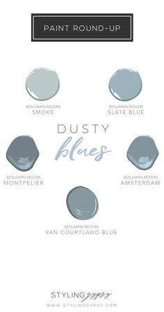 Styling Gypsy Interior Design - Round up of favorite blue-gray paint colors for home decor and interior design projects. decor blue and gray color crush Blue Gray Paint Colors, Bedroom Paint Colors, Interior Paint Colors, Paint Colors For Home, Wall Colors, House Colors, Interior Design, Interior Ideas, Paint Colours