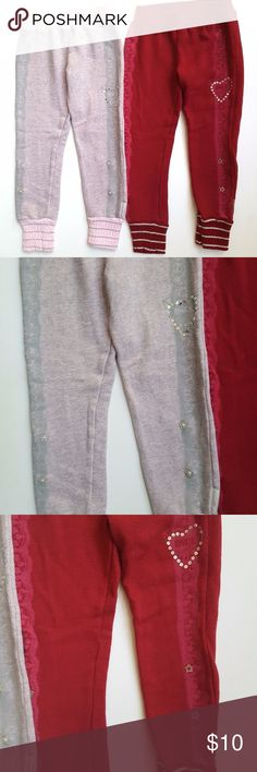 Naartjie 5 Sparkle Ballerina sweat pants lot Naartjie Sparkle Ballerina french terry pants lot, knit cuff, China & Very Cherry   Size 5   VGUC, some light washwear Naartjie Bottoms Casual