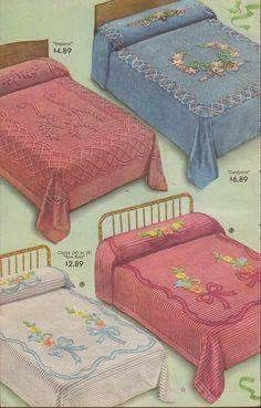 Vintage ad for chenille bedspreads. Wish chenille bedspreads were easy to find these days! Vintage Advertisements, Vintage Ads, Retro Advertising, Vintage Classics, Great Memories, Childhood Memories, Nostalgia, Chenille Bedspread, Vintage Love