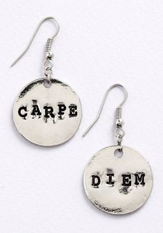 Odes of Wisdom Earrings. Remember to make the most of every moment by wearing these smart, inspiring earrings!  #modcloth