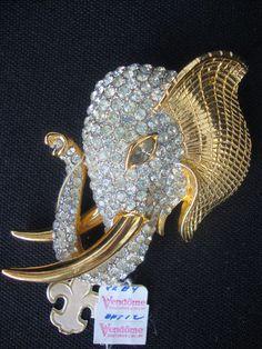 Vintage Signed Vendome Pin Crystal Gold Tone Elephant w Tusks Brooch   eBay