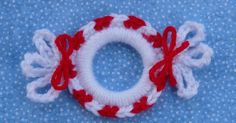 """Peppermint Candy Ring Ornament is the 2nd in my """"Ringing In Christmas"""" ornament series. Each ornament is made by crocheting around a 2"""" pla..."""