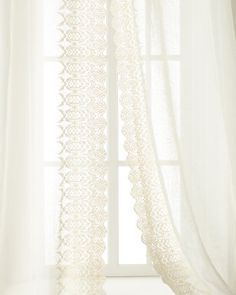 """Each 42""""W x 96""""L Annabelle Lace-Edged Curtain by Pom Pom at Home at Neiman Marcus."""