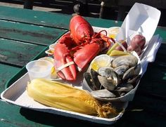 Maine dinner - lobster, steamers, corn