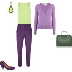 Light Spring - yellowgreen/purple inspiration by adriana-cizikova on Polyvore featuring FTC Cashmere, Tees by Tina, Paul Smith, Naf Naf, L.K.Bennett, women's clothing, women's fashion, women, female and woman