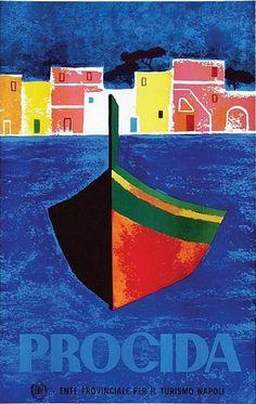 Vintage Italian Posters ~ #Italian #vintage #posters ~ By Mario Puppo, ca 1958, Procida, Turismo in Italia.