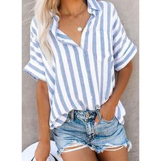 Blusas Mujer De Moda Women'S Clothes Shirt Women Short Sleeve Striped Button Knot Tee Casual TShirt Tops Size S Color Sky blue Casual T Shirts, Casual Tops, Casual Dressy, Dressy Attire, Casual Office, Work Casual, Half Sleeves, Types Of Sleeves, Short Sleeves
