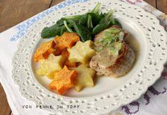 Penne im Topf: Weihnachtsessen: Schweinemedaillons in Rahmsauce mit Sterntaler-Kartoffeln und Feldsalat