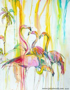 """""""Victoria Flamingos"""" - Jen Callahan Artwork - Coastal Colors™"""