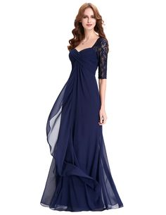 Mother of the Bride: Chiffon & Lace Three Quarter Sleeve Dress with Sweetheart Neckline