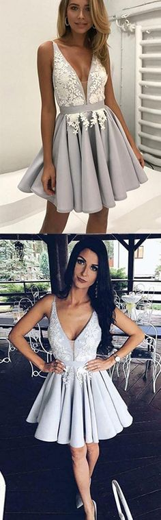 Appliques Homecoming Dress,Deep V Neck Short Prom Dress,Sleeveless Pleats Cheap Homecoming Dress,Homecoming Dresses,Short Prom Dress