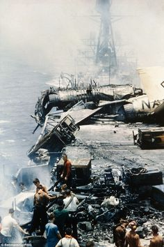 USS Forrestal suffered heavy damage on July 29, 1967 when fire engulfing the ship exploded bombs and rockets of aircraft, killing 134 men  Read more: http://www.dailymail.co.uk/news/article-2474411/USS-Forrestal-sold-ONE-CENT-turned-scrap-metal-1967-fire.html#ixzz2vrQXTePc  Follow us: @MailOnline on Twitter   DailyMail on Facebook