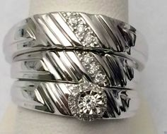 White Gold His Her Mens Women Diamonds Wedding Ring Bands Flower Setting Trio Set(0.18ct. tw)- RG221533797318