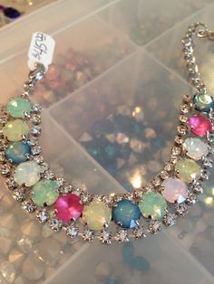 Bracelet with opals and matte crystals