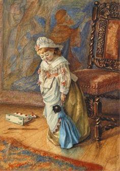 Manly, Eleanor E. (British, 1875-1898) «Teaching Dolly to Walk» Watercolour  1879 http://kykolnik.livejournal.com/171520.html