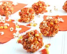 Candy Corn Pumpkin Spice Popcorn Balls