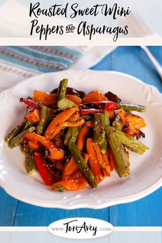 Roasted Sweet Mini Peppers and Asparagus - Roasted asparagus and sweet roasted mini peppers with a delicious simple dressing. Easy, healthy, flavorful and colorful vegan side dish for Sukkot!. | ToriAvey.com #vegan #sidedish #salad #sidesalad #TorisKitchen Entree Recipes, Vegetarian Recipes, Healthy Recipes, Vegan Vegetarian, Sukkot Recipes, Healthy Appetizers, Vegan Meals, Healthy Meals, Mini Sweet Peppers
