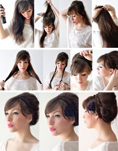 """Things needed: Hairspray, Teasing Brush & Bobby Pins. 1) Add some hairspray 2) Tease the crown of your head & secure it with bobby pins or a tiny clear elastic band (You can even use a """"bump it"""" product to make it easier) 3) Pin it 4) Separate your hair in two sections & braid it 5) Take each section & pull it over to the opposite end & secure it with bobby pins"""