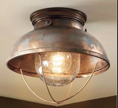 This Rustic Light will capture that down to earth feeling in whatever room you mount it in. The beautiful globe fits well with the weathered copper finish, and will warm any home or atmosphere. It goes well with a nautical decor, or a fisherman's mountain cabin. | eBay!