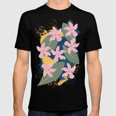 Pink Tropical Flowers and Leaves T-shirt by peladesign Tropical Flowers, Cool T Shirts, Cool Stuff, Mens Tops, Fashion, Losing Weight, Moda, Fashion Styles, Fashion Illustrations