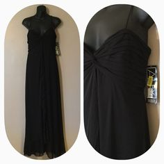 Gorgeous brand new maxi dress Flows beautifully. Shear and lined. Ruffled in font down the middle. Spaghetti straps. Zips in back. Black Alex Dresses Maxi
