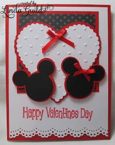 Nothin' Fancy: Mickey and Minnie Silhouette Card--based on one seen online Valentines Day Cards Handmade, Disney Valentines, Wedding Cards Handmade, Disney Cards, Valentine's Cards For Kids, Card Making Inspiration, Mickey Mouse, Anniversary Cards, Homemade Cards
