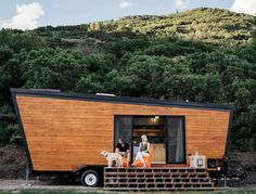 A contemporary 236-square-foot tiny house on wheels in Marble, California. The home was a DIY project by the owners totalling $50,000 to build.