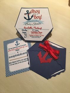 Nautical Diaper baby shower invitation by enchantedeventsbybj on Etsy