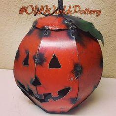 Metal Jack-O-Lantern #oldworldpottery #wichitafalls #texas #metalart #metaldecor #halloween #orange #pumpkin #jackolanterns #befestive #oldworldpotteryofwichitafalls