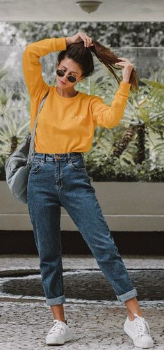 Boyfriend jeans outfit - 45 Awesome Fall Outfits To Try Right Now – Boyfriend jeans outfit Mode Outfits, Fall Outfits, Summer Outfits, Fashion Outfits, Womens Fashion, Holiday Outfits, Fall Outfit Ideas, Winter Outfits For School, Dinner Outfits