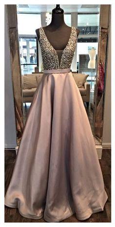 Prom Dresses,V Neck Prom Gowns,Long Satin Prom Dresses,Gray