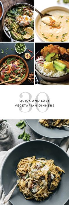 From cauliflower meatballs to coconut curry, here are 30 totally low-maintenance vegetarian dinner recipes to try out. Autumn Recipes Vegetarian, Easy Vegetarian Dinner, Vegetable Recipes, Easy Dinner Recipes, Healthy Recipes, Vegetarian Meatballs, Vegetarian Meals, Easy Dinners, Dessert Recipes
