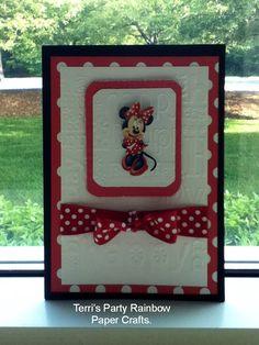Handmade Minie Mouse birthday card.