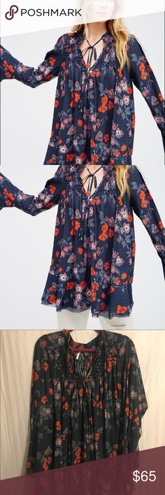 "Free People Printed ""Smocked Top"" The shirt in the cover shot is a different blue than the one i am selling‼️‼️Mine is more of a navy blue‼️‼️ Free People Tops"