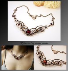 Rhiamon- wire wrapped necklace with red quartz and garnet beads. Oxidized/tinted, hammered and polished copper wire for ancient, old looking, vintage effect. Gemstone size is about 1,4 x 1,3 cm. 10...