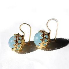 blue quartz earrings | Toosis Blue Quartz Ball Earrings in Blue - Lyst