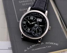 A.Lange & Söhne - Grand Lange 1 Luminous, ref.115029 - Manual-winding, cal.L901.2, 3Hz, 72hr p.r., date ,power reserve indicator - 40.9mm, white gold case, black dial ~29k