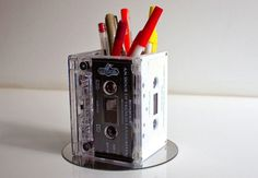 make old tapes into a pen holder: DIY Projects for Junk Around Your Home