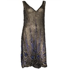 Pre-owned 1920s Beaded Silk Tulle Over-Dress with Heavy Beading and Sequins
