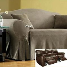 Reclining SOFA Slipcover Grey Suede / Gray Cover Adapted for Dual Recliner Couch