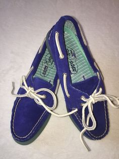 Sperry Topsider Cobalt Blue Suede Deck Shoes Women's SZ 5 1/2 #SperryTopSider #BoatShoes #Casual