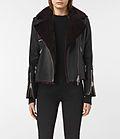 Womens Higgens Lux Leather Biker Jacket (Black/Oxblood) - in my wildest dreams!